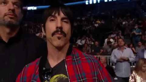 New party member! Tags: fight apple bite red hot chili peppers ufc 202 ufc202 anthony kiedis take a bite eating an apple