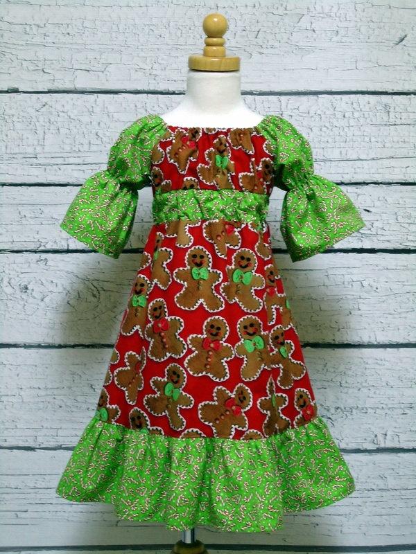 Peasant dress ruffled gingerbread 3 4 sleeve 12 18 mo 18 24