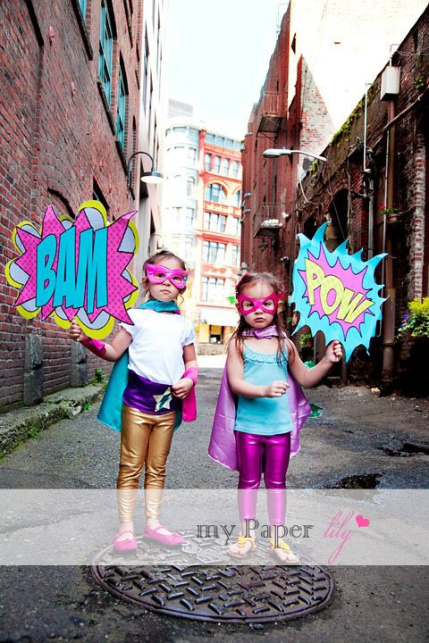 Girly Superhero - Party Booth Signs - ZAP, POW, BAM