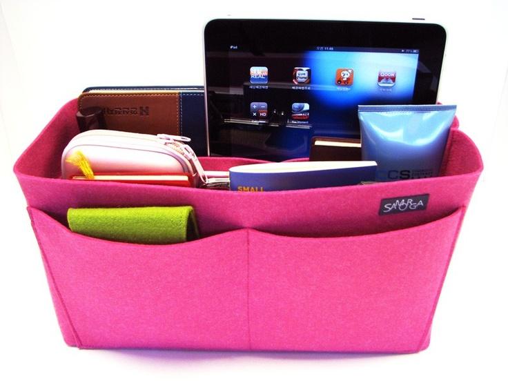 bag organizerBags Organic, Organización De Bolsos, Felt Bags, Pink Felt, Hot Pink, Baby Bags, Organizador De Bolsos, Crafts, Pur Organic