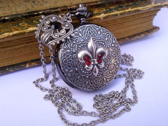 Gothic Watch Steampunk Pocket Watch Necklace by ApplebiteJewelry