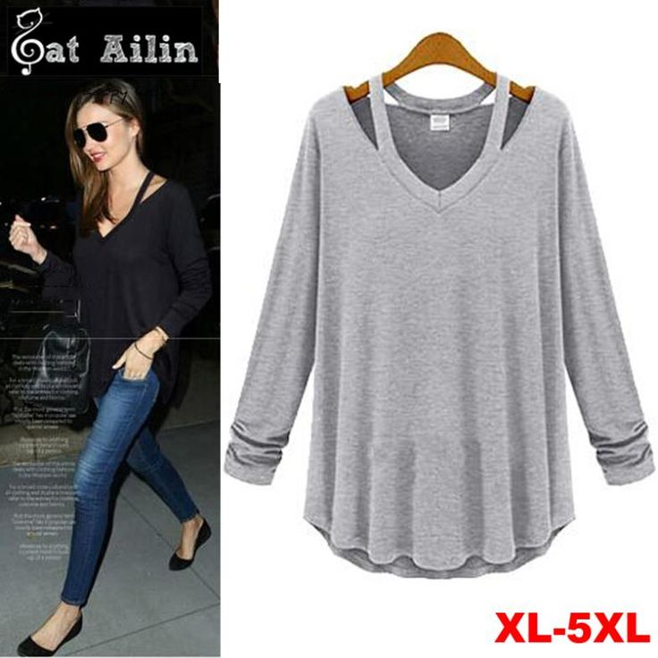 Find More T-Shirts Information about New 2014 Summer Autumn Women T shirts, Black Grey Solid Color Casual Women Tees,Plus Size Women Clothing XXL 3XL 4XL 5XL Tops ,High Quality tee shirts for sale online,China clothing pet Suppliers, Cheap tee plug from VA Women Clothing Store on Aliexpress.com