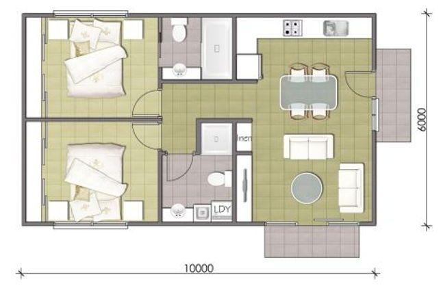 Denah Rumah Tipe 60 Ukuran Standar Guest House Plans House Plans Tiny House Design