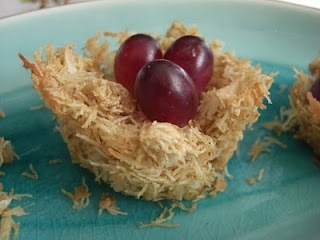 Healthy Spring snack...Coconut and grapes  The Adventures of Bear: Edible Bird's Nest