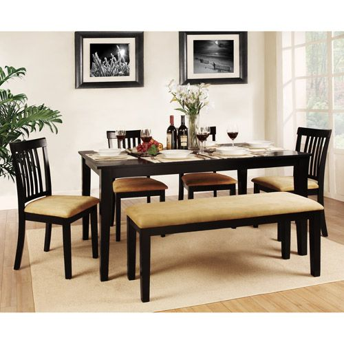Lexington 6-Piece Dining Table Set with Mission-Back Chairs and Bench, Black: Furniture : Walmart.com