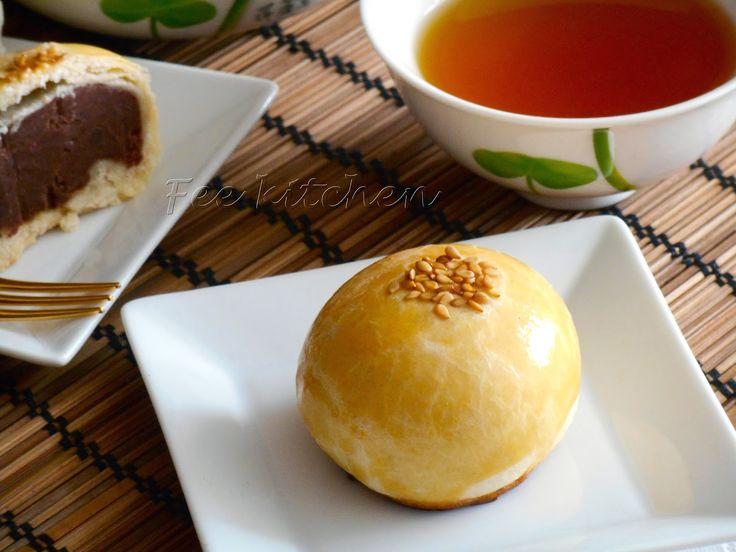 Fee  kitchen: Gâteau de lune chinois red bean chocolate yolk pastries 真材實料~豆沙巧克力餡蛋黃酥(無蛋黃)