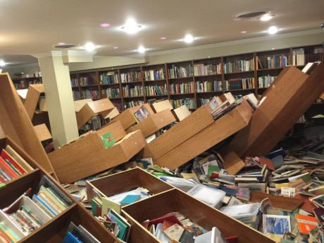 Friend has a library, her 9 year old pushed over all the shelves last night. 10,000 books in floor.