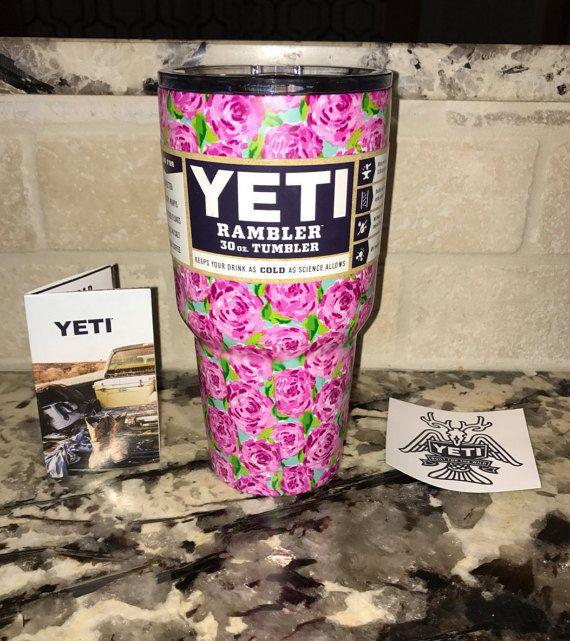 YETI auténtica flor rosa 30 oz Rambler vaso taza taza Yeti