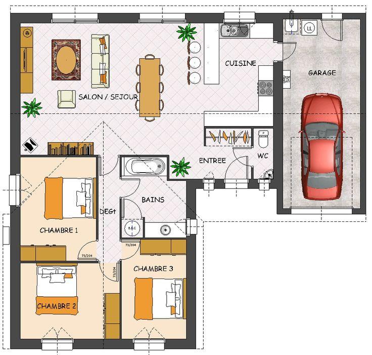 Les 25 meilleures id es de la cat gorie plan maison 3 chambres sur pinterest plan de chambre for Plan maison 3 chambres et un bureau