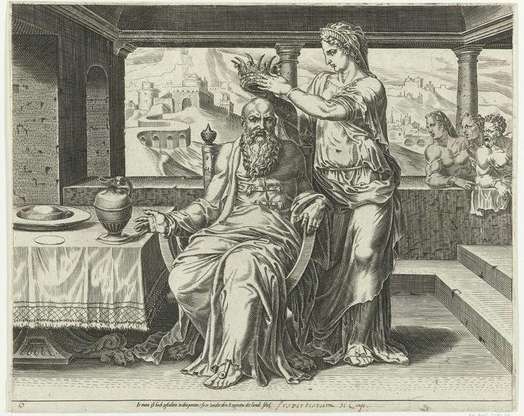 Dirck Volckertsz Coornhert | De Deugdzame vrouw kroont haar man, Dirck Volckertsz Coornhert, Maarten van Heemskerck, Cornelis Bos, 1555 | De deugdzame vrouw plaatst een kroon op het hoofd van haar man, die voor haar zit.  Op de achtergrond de ouderen van de stad die in bewondering naar de man kijken.  De afbeelding is gebaseerd op Spreuken 12:4: 'Een sterke vrouw is een kroon voor haar man' en Spreuken 31:23: 'Haar man geniet bekendheid in de stad, hij vergadert met de oudsten in de poort'…