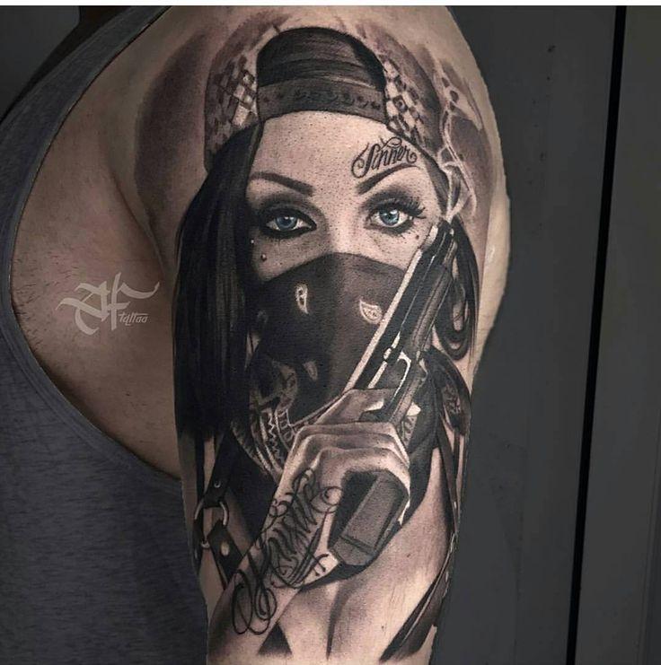 Gangster Girl With Gun Tattoo