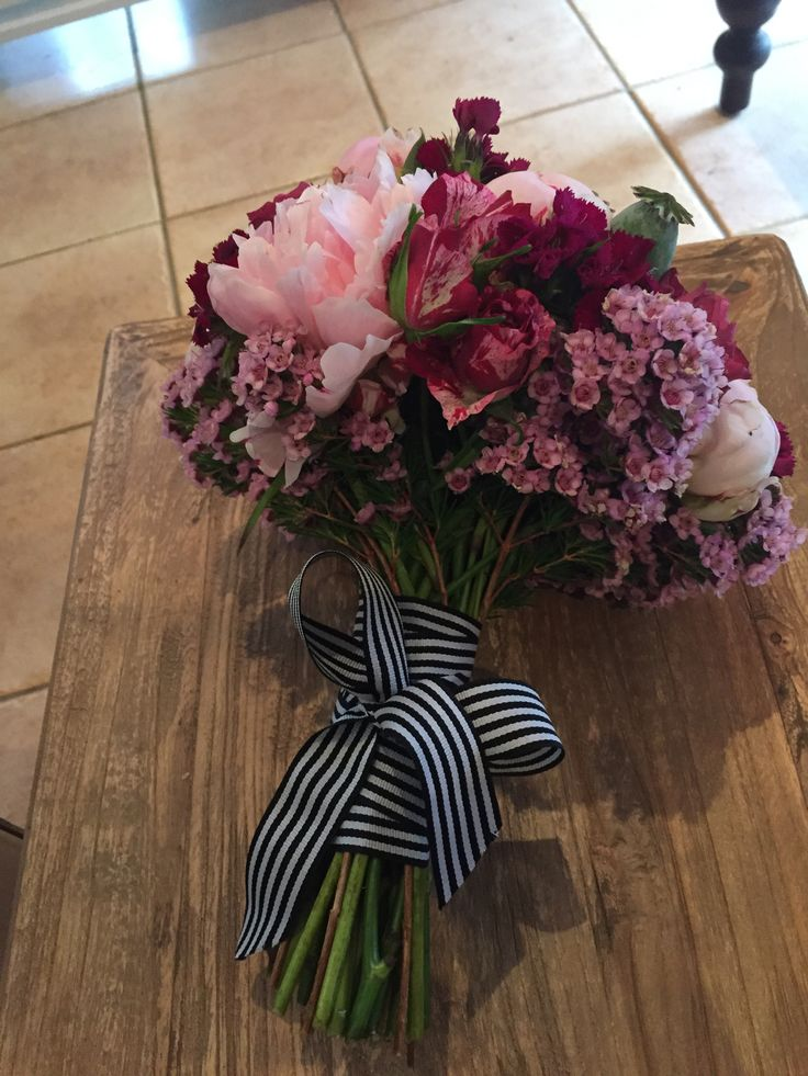 Peony Bridal Bouquet, Pink Bouquet, black and white striped ribbon