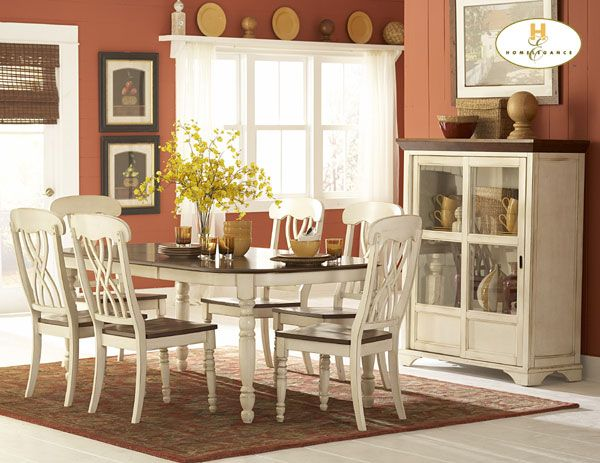 Ohana Dining Table by Home Elegance in 2 Tone Antique White u0026 Warm Cherry This Homelegance Ohana dining table becomes a perfect piece which would soon rule & 72 best Homelegance Dining Room Sets On Sale! images on Pinterest ...
