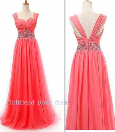 Amazing watermelon red chiffon handmade floor-length beaded halter prom dress, graduation dress, bridesmaid dress with sequins #coniefox #2016prom