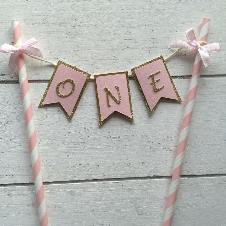 One cake banner. Bow cake banner. Cake topper. First birthday cake topper. Pink and gold cake topper. by InspiredbyAlma on Etsy