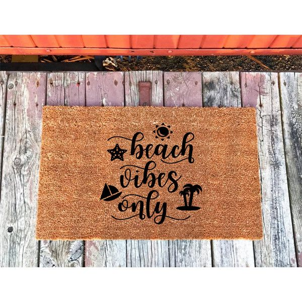2 Sizes Beach Vibes Only Coir Door Mat Doormat 18 X 30 and 24 X 31.5... ($30) ❤ liked on Polyvore featuring home, outdoors, outdoor decor, floor & rugs, grey, home & living, rugs, grey door mat, grey mat and coir doormat