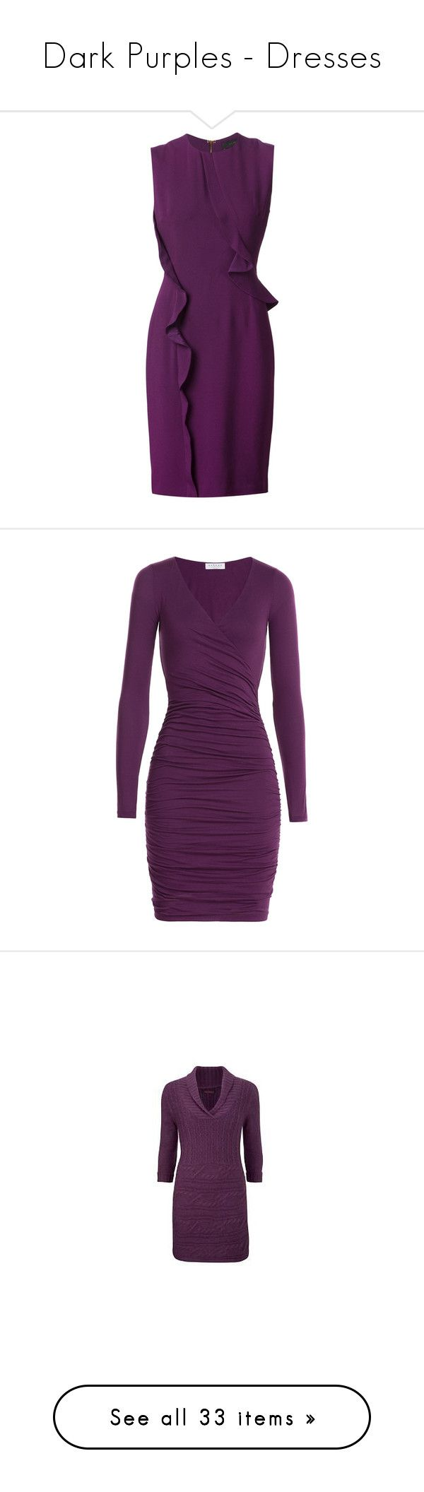 """Dark Purples - Dresses"" by mscody ❤ liked on Polyvore featuring dresses, short dress, robe, ruffle dress, short dresses, ruffle cocktail dress, fitted dress, short frilly dresses, purple and v neck dress"