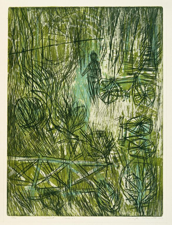 Warrington Colescott (American, b. 1921) Woodlot, State II, 1961 Color drypoint, aquatint, and screenprint Plate/screen: 19 7/8 × 14 3/4 in. (50.48 × 37.47 cm) sheet: 26 × 21 3/8 in. (66.04 × 54.29 cm) Milwaukee