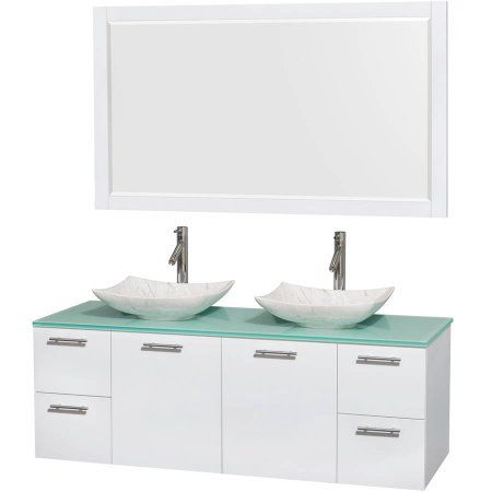 Wyndham Collection Amare 60 Inch Double Bathroom Vanity Glossy White Green Glass Countertop