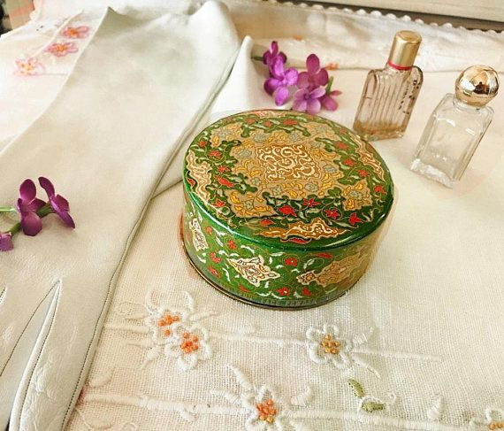 $36.00. Where can you buy a ViNTAGE 1930s EMERAUDE by Coty 2.29 oz Air SpUN BEAUTY Face PoWder BoX? Here and its in GREAT CONDITION! This round colorful box has an intricate pattern like a Persian tapestry in Green, Gold, Red and Blue. It once held powder and a puff but its empty now and very clean. A hard piece of clear plastic covers the top and sides and has kept this box in beautiful condition. The colors are vivid and there is no wear to the paper.  https://www.etsy.com/listing/53646096