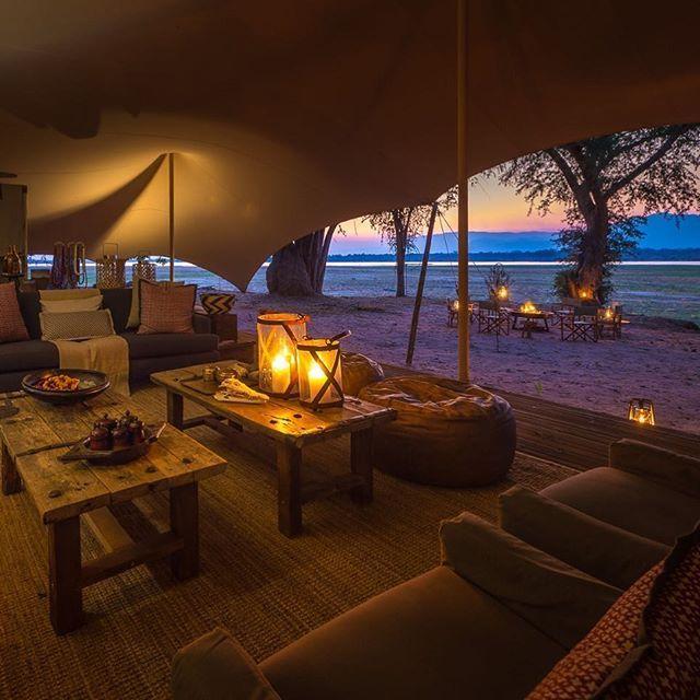 Watching that Zambian Sunset from the Zimbabwean side of the Zambezi River ... #magicalspot #campfire #manapools #wildsafari #afrikareisen