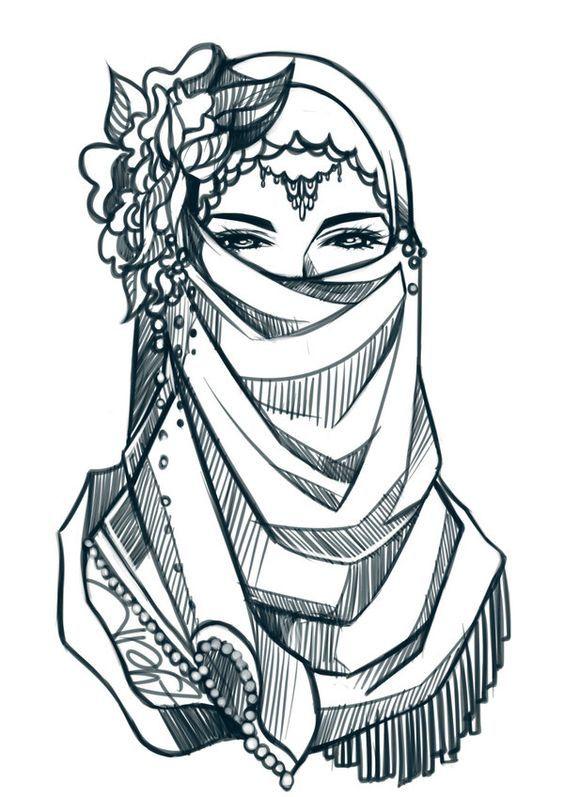 Elegant Niqabi Lady Drawing