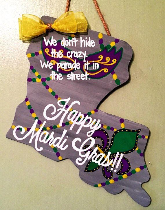Louisiana State Door Hangers Mardi Gras Door by LBWoodenSigns