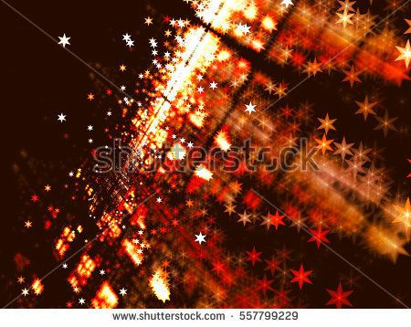 Blurred backdrop with stars - abstract computer-generated image. Fractal art: unusual surface with perspective and light effects. Technology or festive background.