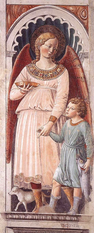 Raphael and Tobias (on the pillar). 1464-65 Fresco Apsidal chapel, Sant'Agostino, San Gimignano.