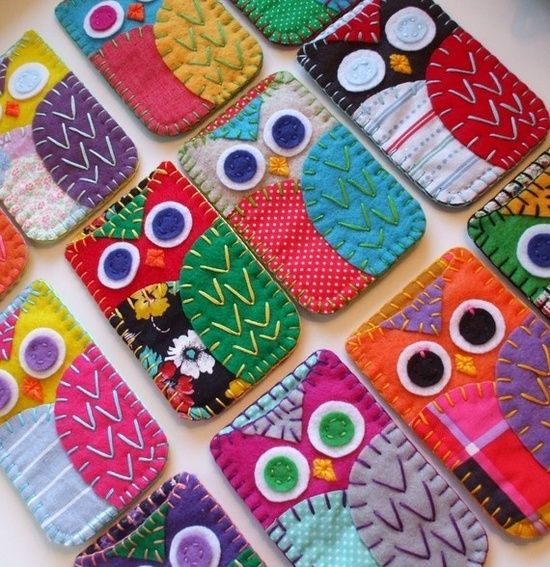 Cute Owl Ipod or Iphone Case, handmade from 100% Recycled Eco Friendly Felt, lined  accented with various vintage fabrics, and carefully stitched together with hand embroidery