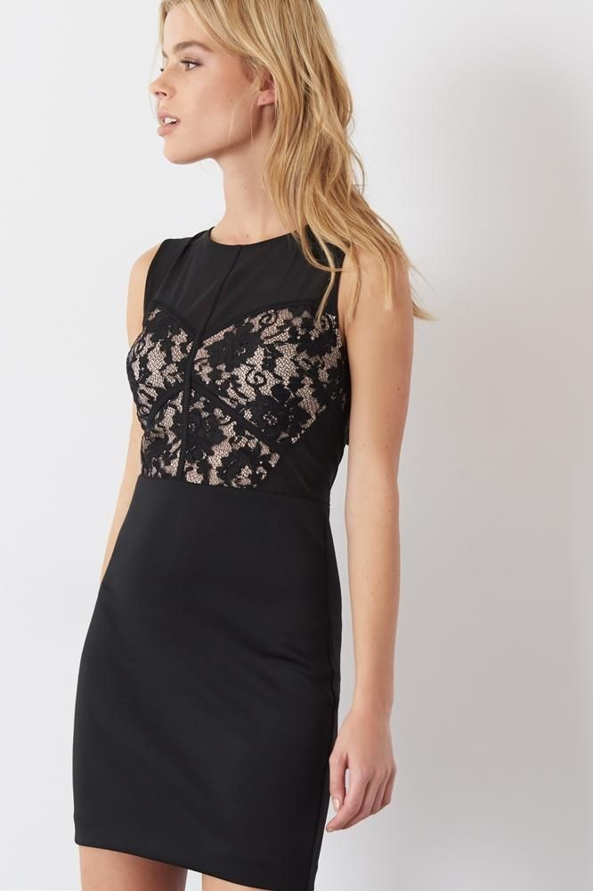 Sleeveless Mesh Dress with Lace. A new style in our NYE exclusive online collection