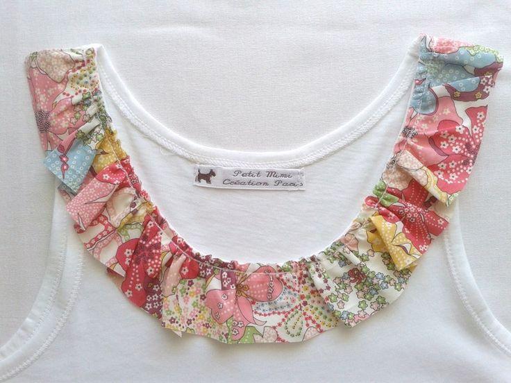 T-shirts, Debardeur filles en coton bio customisé Liberty est une création orginale de petit-mimi-paris sur DaWanda