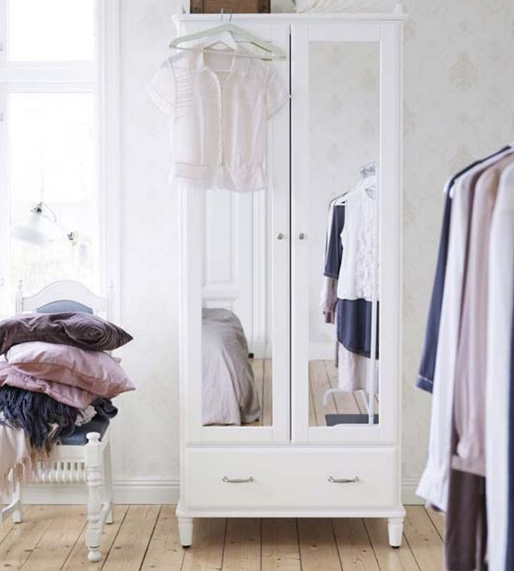 The Tyssedal collection puts an Ikea twist on a soft traditional shape. The mirrored doors and ample storage space inside the wardrobe ($339) make it perfect for bedrooms without a closet.