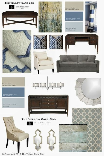 This color palate brings in dark blues, tans and aqua/grey - nice way to tie in all living areas on the 2nd floor.