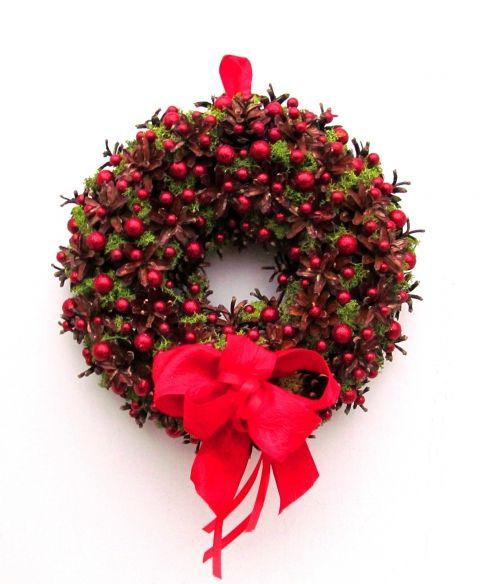 Pirosgömböcskés koszorú - karácsonyi ajtódísz , Dekoráció, Otthon, lakberendezés, Karácsonyi, adventi apróságok, Karácsonyi dekoráció, Meska