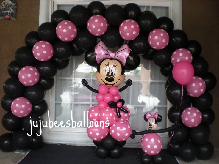 1000 images about minnie mouse pink party on pinterest for Balloon decoration minnie mouse