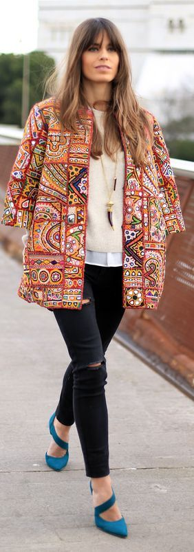 Indian patterned jacket with black jeans and bright coloured shoes