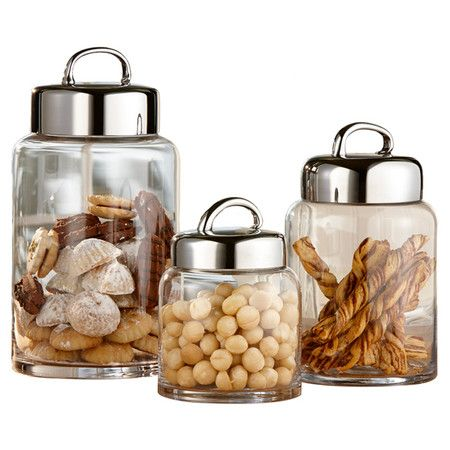 """Stow pantry essentials in these sleek glass canisters, lg 7dx 12""""h"""