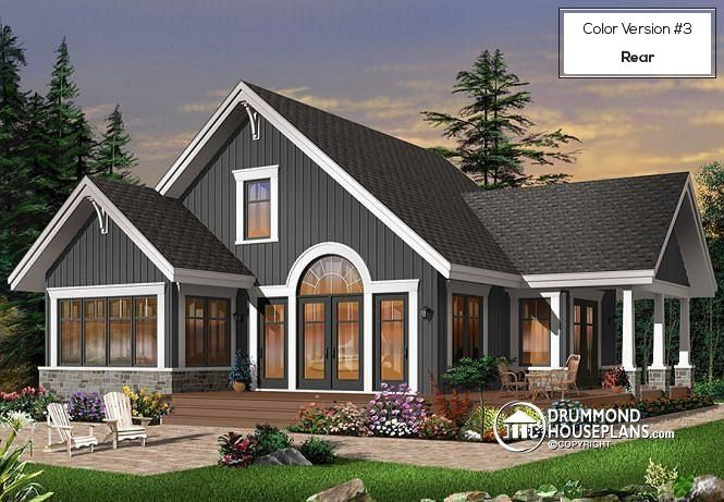 Color version 3 - Rear Open floor plan lakefront Country Cottage, master bedroom on main, double sided fireplace & covered terrace - Suncrest