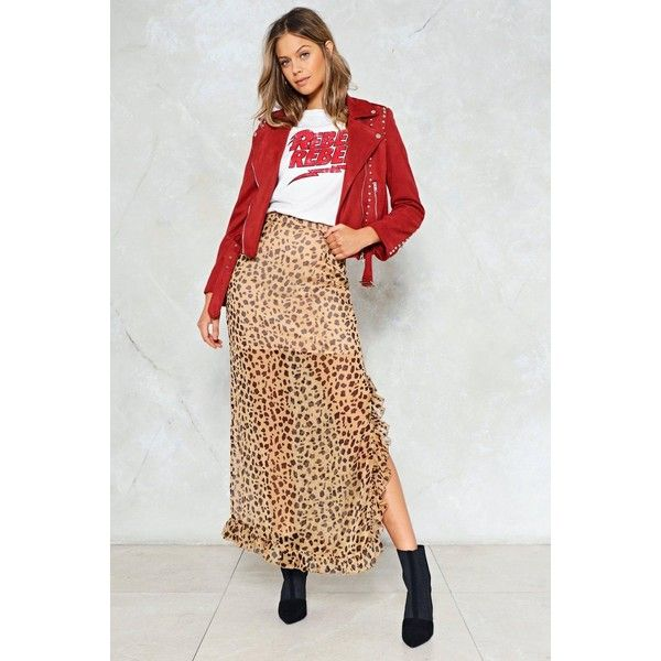 Nasty Gal Cheetahs Always Prosper Maxi Skirt ($50) ❤ liked on Polyvore featuring skirts, brown, long maxi skirts, long skirts, high-waisted maxi skirts, brown maxi skirt and floor length maxi skirt
