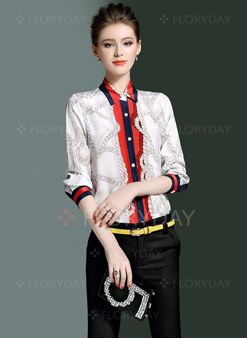 Blouses+-+$32.35+-+Color+Block+Casual+Silk+Collar+Half+Sleeve+Blouses+(1645125668)