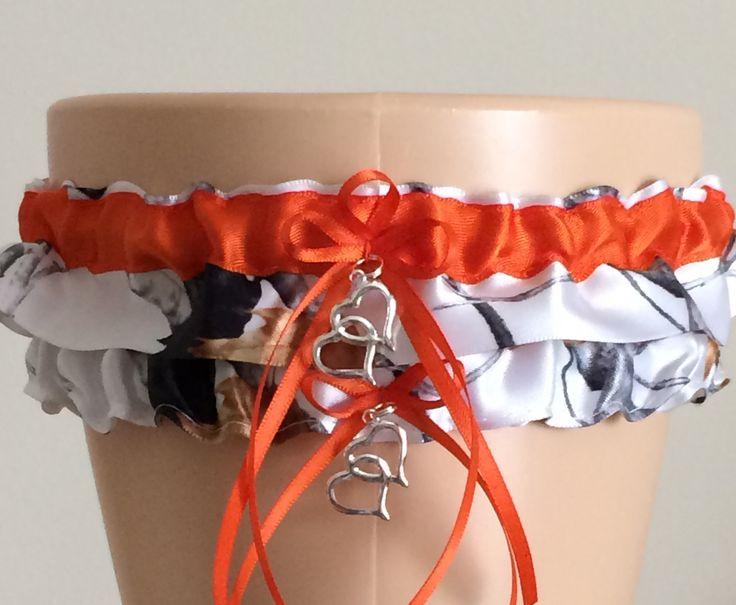 True Timber Orange Camo Wedding Garter Set, Prom Garter Set