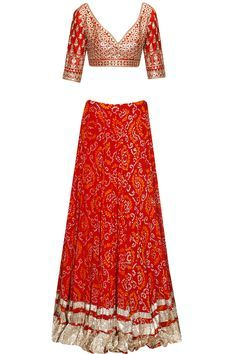 Red gota patti work bandhini lehenga set at Pernia's Pop Up Shop.