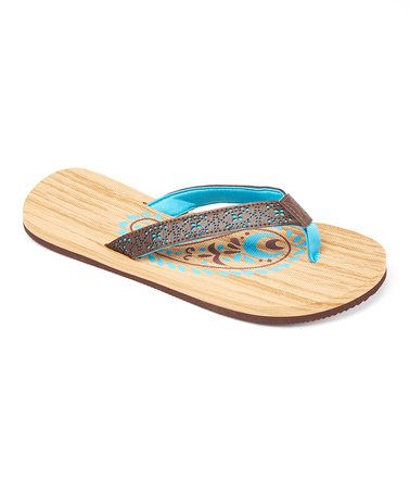 Look what I found on #zulily! Blue Contrast Overaly Flip-Flop #zulilyfinds
