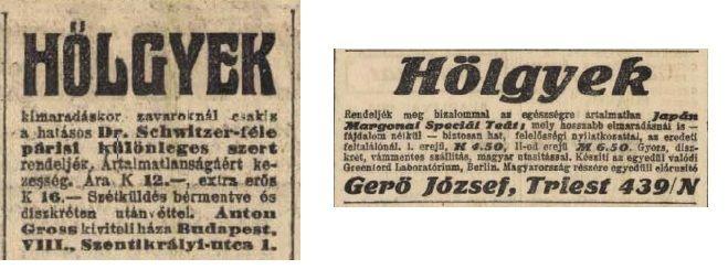 Magzatelhajtó szerek 1914-ből, a Pesti Napló 1914.11.13. és 14-i számából. Garancia és diszkréció!