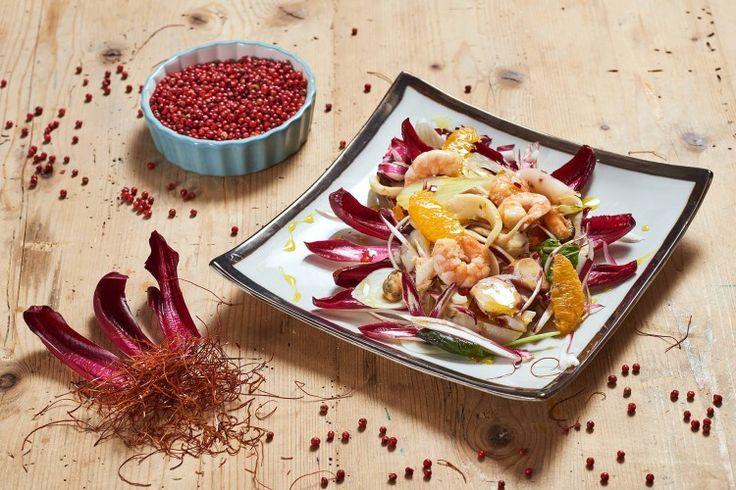 insalata di Radicchio rosso di Treviso IGP gamberi finocchi e pompelmo