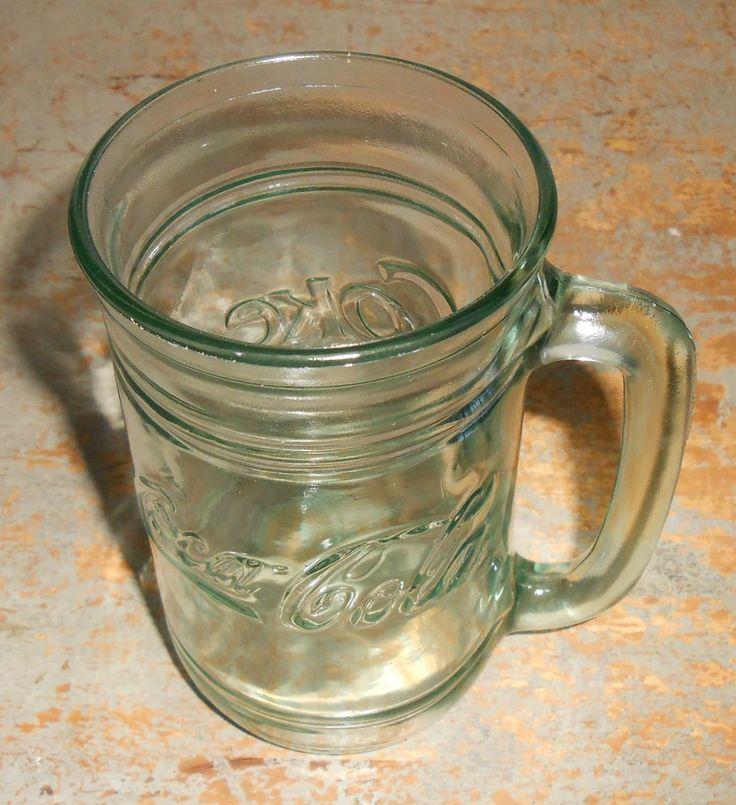 Vintage Coca Cola Mug, Glass, Green, Coca Cola, Coke, Tall Glass, Large Mug, Coke Products by TheBackShak on Etsy