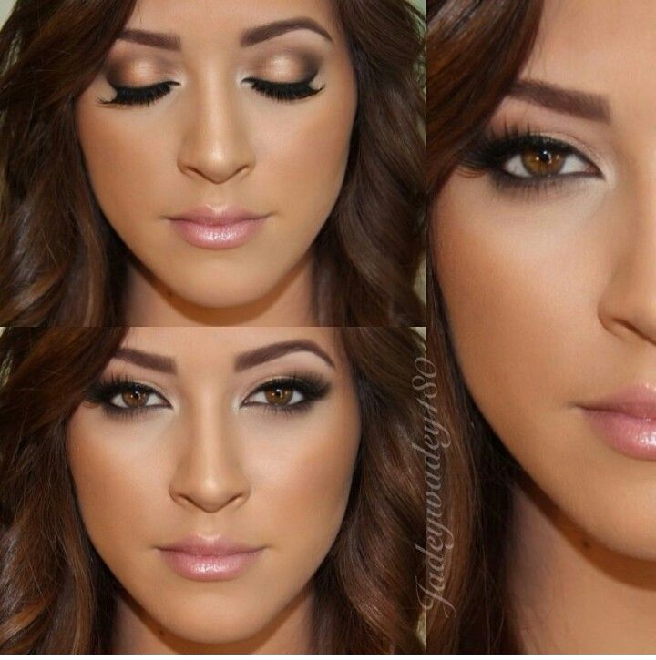 Beautiful glowy glam makeup. Love the soft contouring and eyeliner, especially on outter corners.