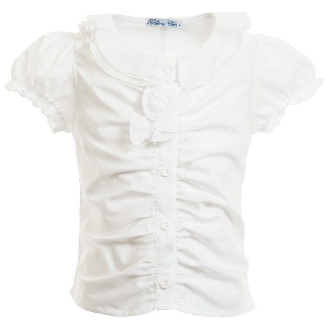 Balloon Chic - Girls White Cotton Fitted Blouse | Childrensalon