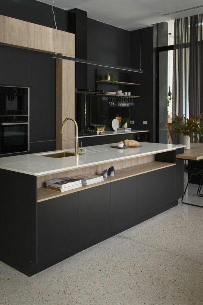 cuisine-minimaliste-îlot-de-cuisine-central-intérieur-monochrome-rangement-apparent